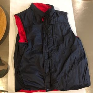 Reversible Land's End Puffer Vest - Navy/Red - XXL